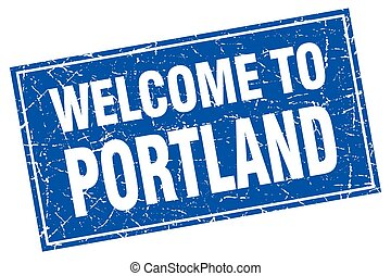 Portland blue square grunge welcome to stamp