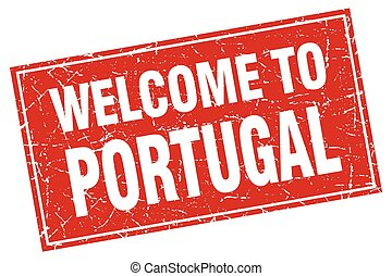 Portugal red square grunge welcome to stamp