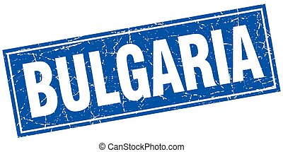 Bulgaria blue square grunge vintage isolated stamp