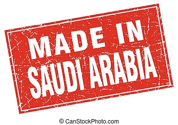 Saudi Arabia red square grunge made in stamp