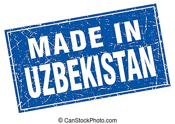 Uzbekistan blue square grunge made in stamp