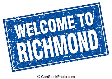 Richmond blue square grunge welcome to stamp