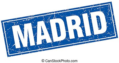 Madrid blue square grunge vintage isolated stamp