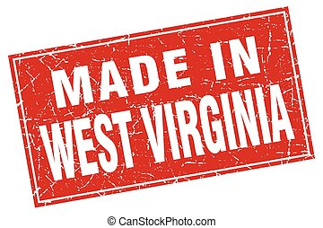West Virginia red square grunge made in stamp