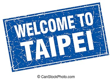 Taipei blue square grunge welcome to stamp