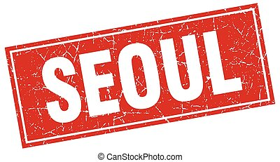 Seoul red square grunge vintage isolated stamp