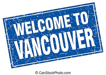 Vancouver blue square grunge welcome to stamp