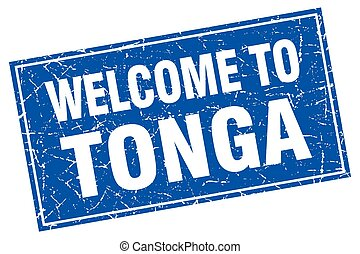 Tonga blue square grunge welcome to stamp