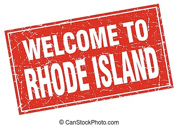 Rhode Island red square grunge welcome to stamp