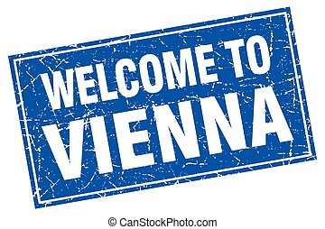 Vienna blue square grunge welcome to stamp