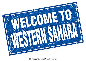 Western Sahara blue square grunge welcome to stamp