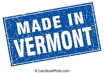 Vermont blue square grunge made in stamp