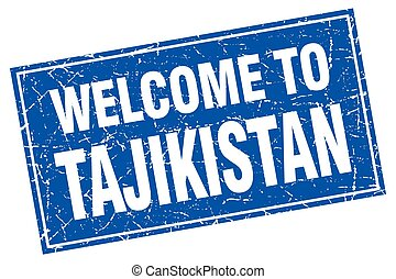 Tajikistan blue square grunge welcome to stamp
