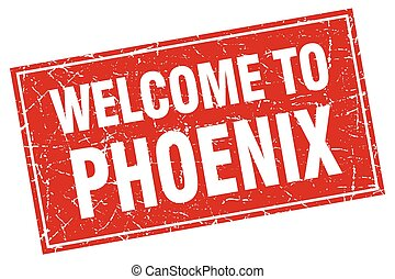 Phoenix red square grunge welcome to stamp