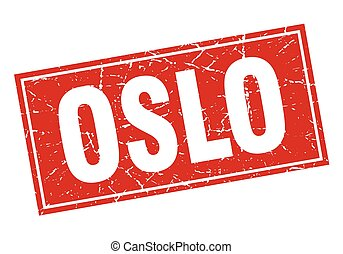 Oslo red square grunge vintage isolated stamp