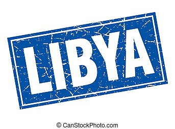 Libya blue square grunge vintage isolated stamp
