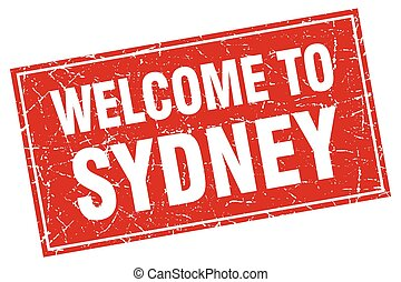 Sydney red square grunge welcome to stamp