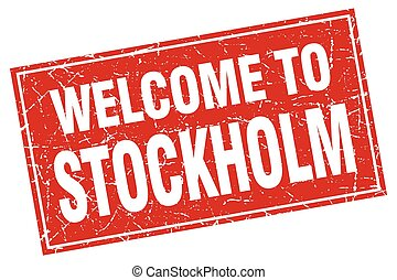 Stockholm red square grunge welcome to stamp