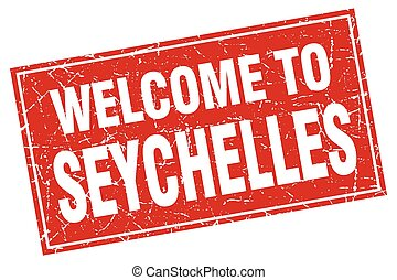Seychelles red square grunge welcome to stamp