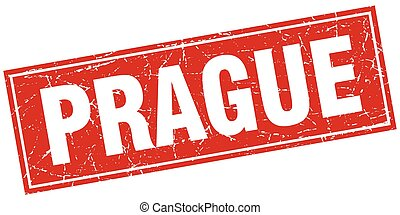 Prague red square grunge vintage isolated stamp