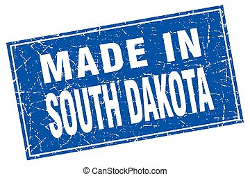 South Dakota blue square grunge made in stamp