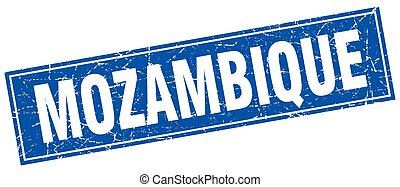 Mozambique blue square grunge vintage isolated stamp