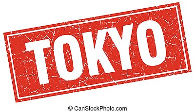 Tokyo red square grunge vintage isolated stamp