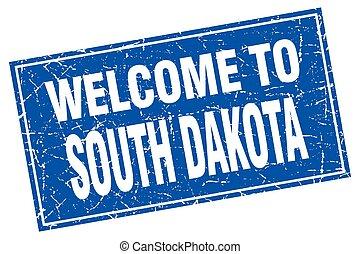 South Dakota blue square grunge welcome to stamp