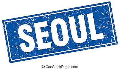 Seoul blue square grunge vintage isolated stamp