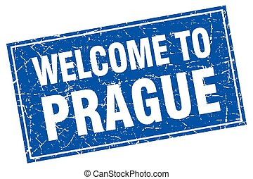 Prague blue square grunge welcome to stamp