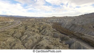 4k Aerial View in the desert - Sierra Alhamila / Desierto De...