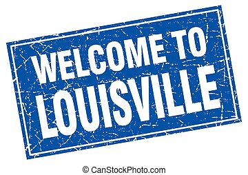 Louisville blue square grunge welcome to stamp
