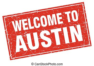 Austin red square grunge welcome to stamp