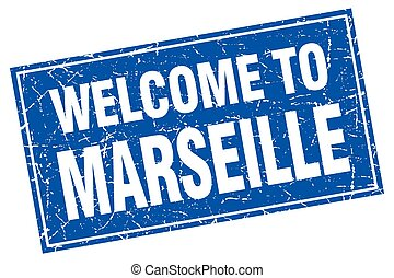 Marseille blue square grunge welcome to stamp