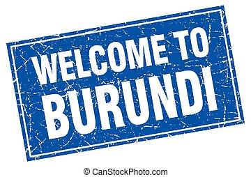 Burundi blue square grunge welcome to stamp