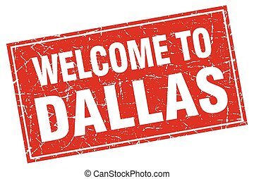 Dallas red square grunge welcome to stamp