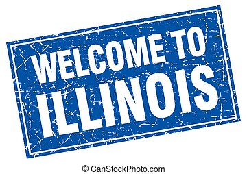 Illinois blue square grunge welcome to stamp