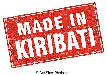 Kiribati red square grunge made in stamp