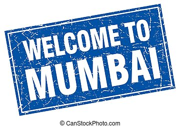 Mumbai blue square grunge welcome to stamp