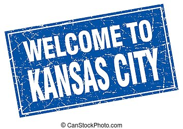 Kansas City blue square grunge welcome to stamp