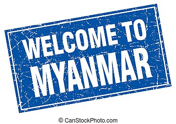 Myanmar blue square grunge welcome to stamp