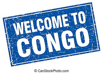 Congo blue square grunge welcome to stamp