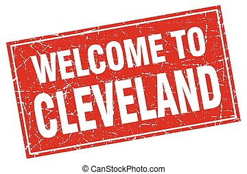 Cleveland red square grunge welcome to stamp