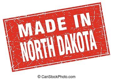 North Dakota red square grunge made in stamp