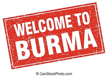 Burma red square grunge welcome to stamp