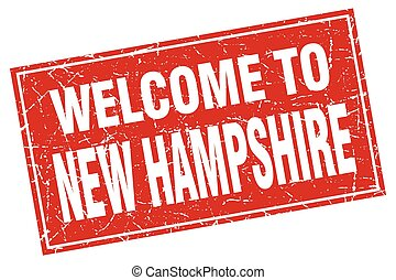 New Hampshire red square grunge welcome to stamp
