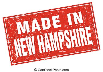 New Hampshire red square grunge made in stamp