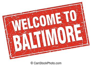 Baltimore red square grunge welcome to stamp