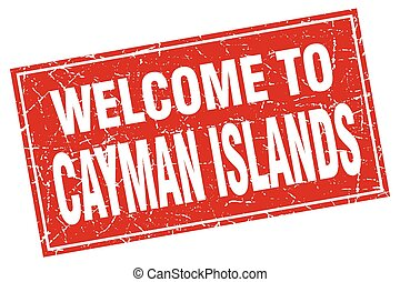 Cayman Islands red square grunge welcome to stamp