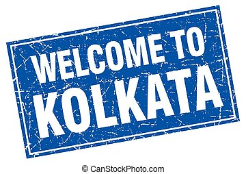 Kolkata blue square grunge welcome to stamp